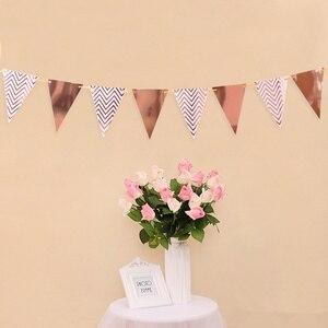 Image 2 - 12 флагов, 18 см, гирлянды из розового золота, флажки баннеры на день рождения, украшения для детской вечеринки