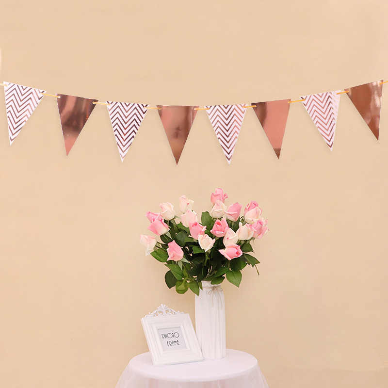 12 Flags 18 ซม. Rose Gold Garlands วันเกิด Bunting แบนเนอร์ธง Baby Shower Wedding Garland Flags Party อุปกรณ์ตกแต่ง