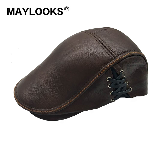 Spring Men s cow leather Flap cap hat brand new style genuine leather  baseball gatsby ascot caps newsboy beret hats Cs54 523382806f1