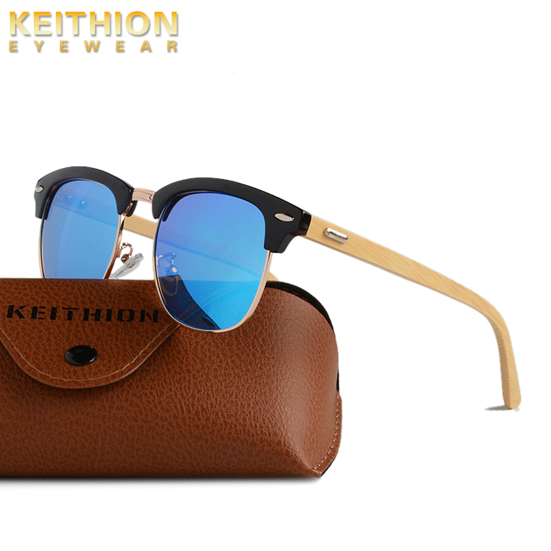 KEITHION Retro Womens Mens Sunglasses Polarized Vintage Round Bamboo Leg Color Eyewear Female Male sun glasses Uv400 in Women 39 s Sunglasses from Apparel Accessories