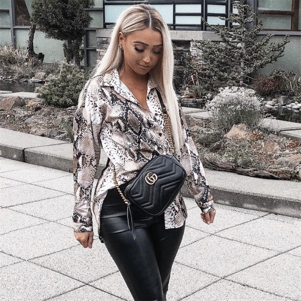 women leopard print slim blouse animal pattern patchwork long sleeve buttons split trun down collar shirts vintage casual tops in Blouses amp Shirts from Women 39 s Clothing