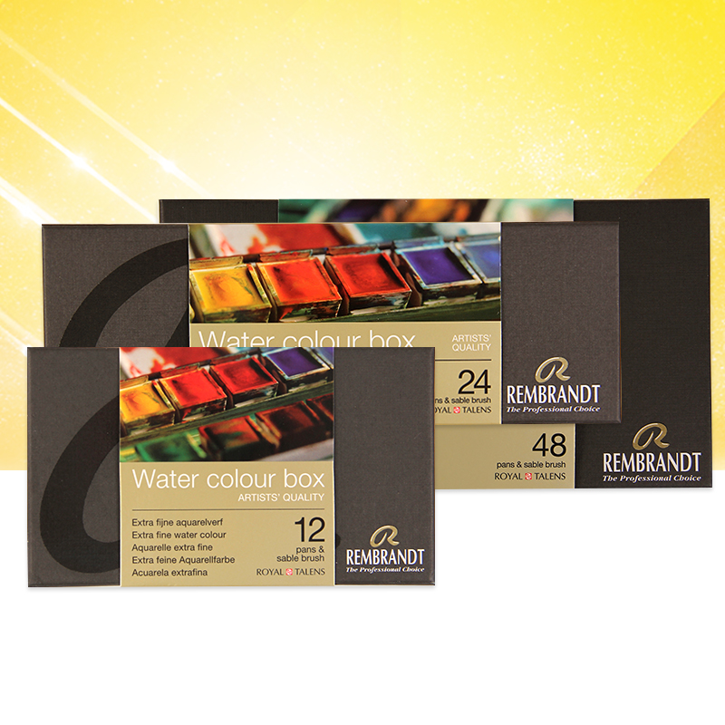 Rembrandt suluboya boyalar - Holland REMBRANDT Rembrandt watercolor paint suit 48/24/12 color solid metal box