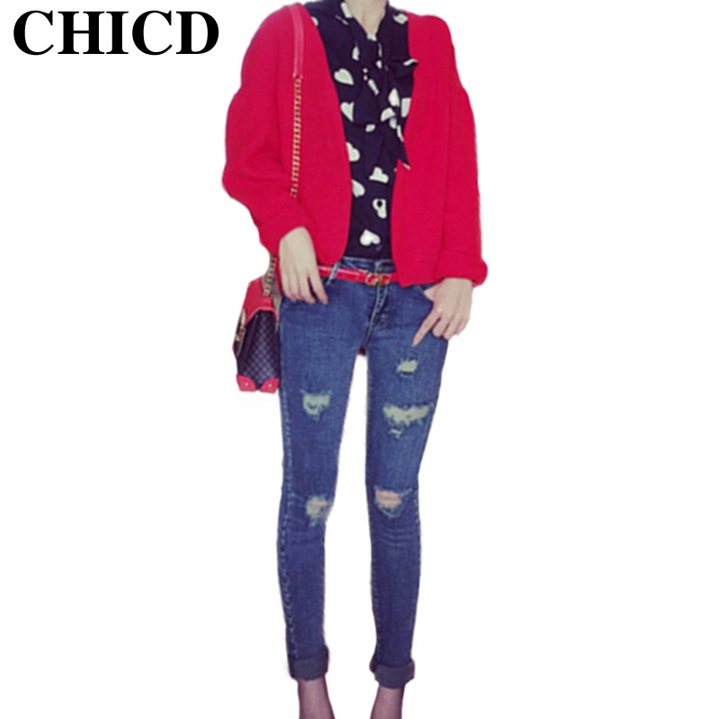 CHICD Women Jeans Pants 2017 Spring Autumn Trousers Ladies Fashion Pants Bleached Scratched Pencil Pattern Jeans