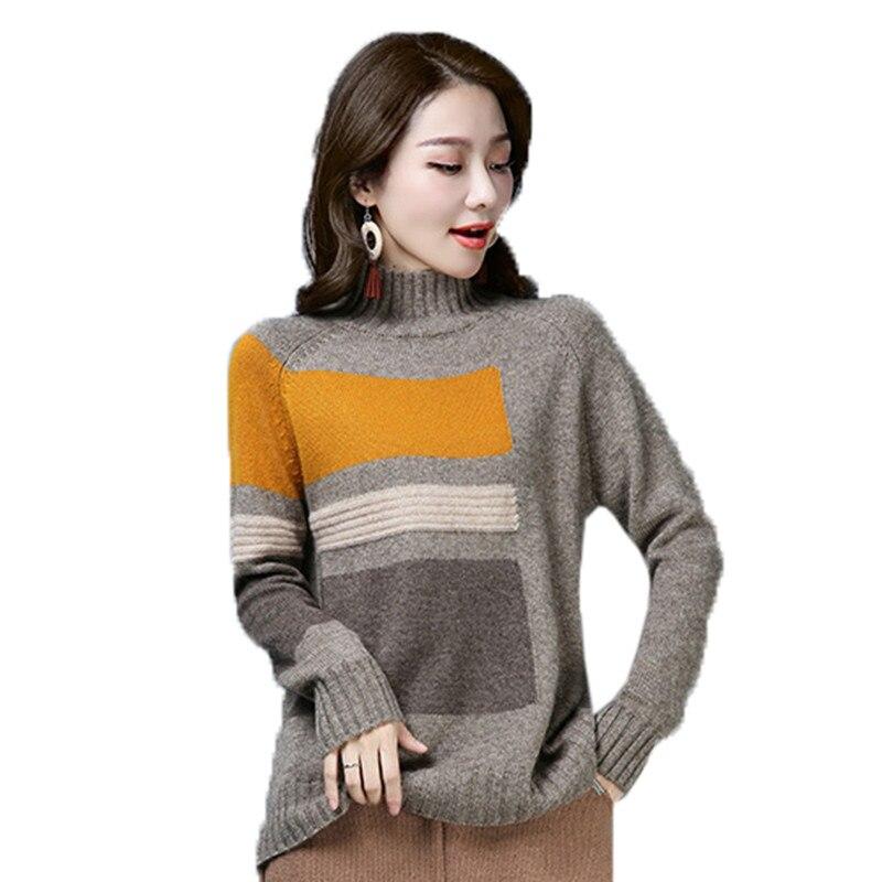 Printemps automne nouveau pull à col roulé femme lâche sauvage mode pull élégant femmes hiver couleur Match pull en cachemire NO675