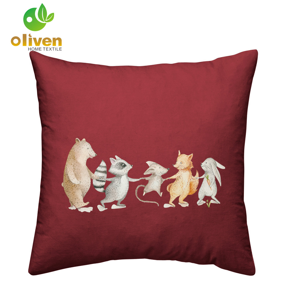 Cute Animal Cushion Cover Squirrel Hedgehog Giraffe Cartoon Print Pillowcase Kids Pillow Cover Home Decor Sofa Throw Pillows P15