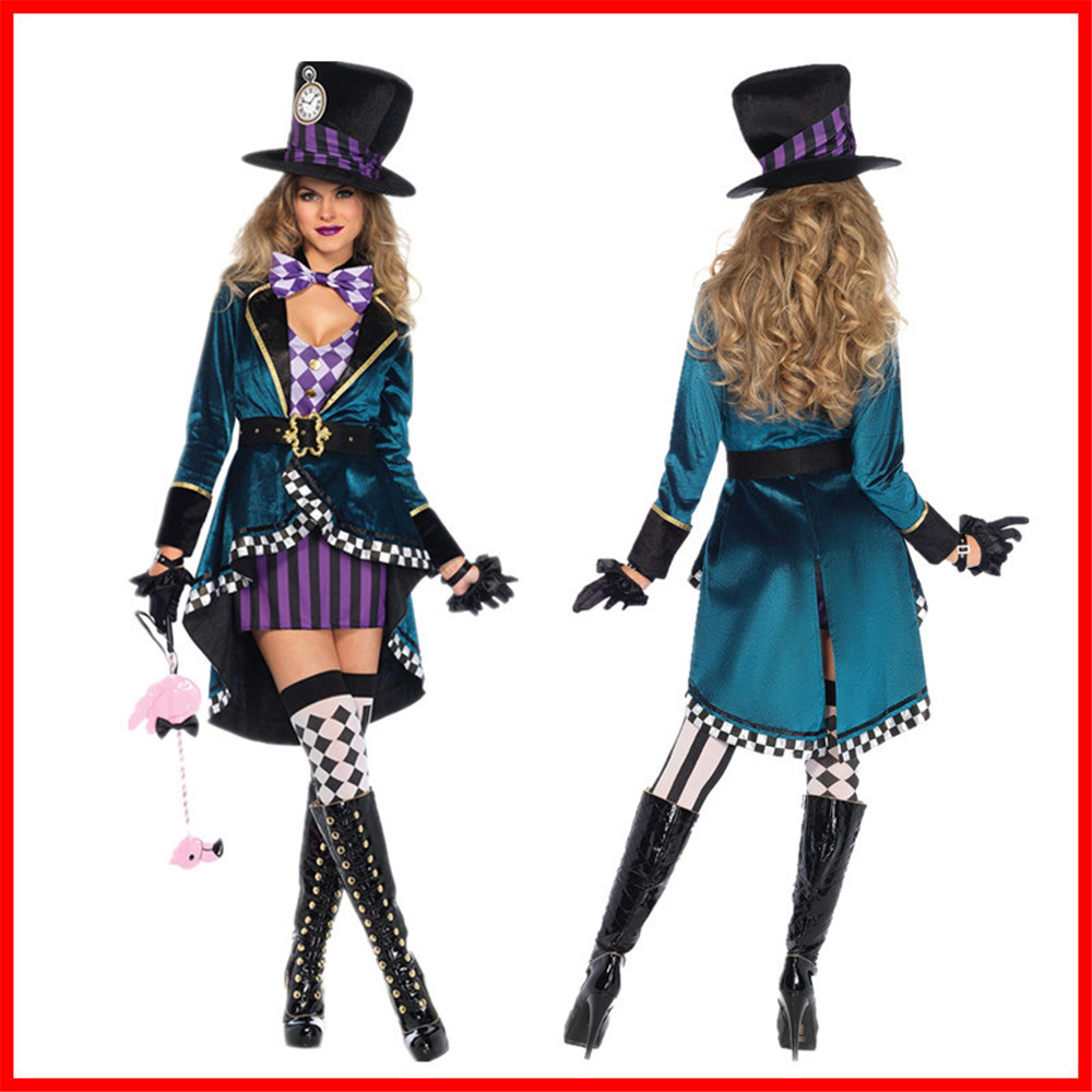 Adult Alice In Wonderland Mad Hatter Costume for Women Halloween Witch Dress Sexy cosplay Magician Costume Magic Show Wear