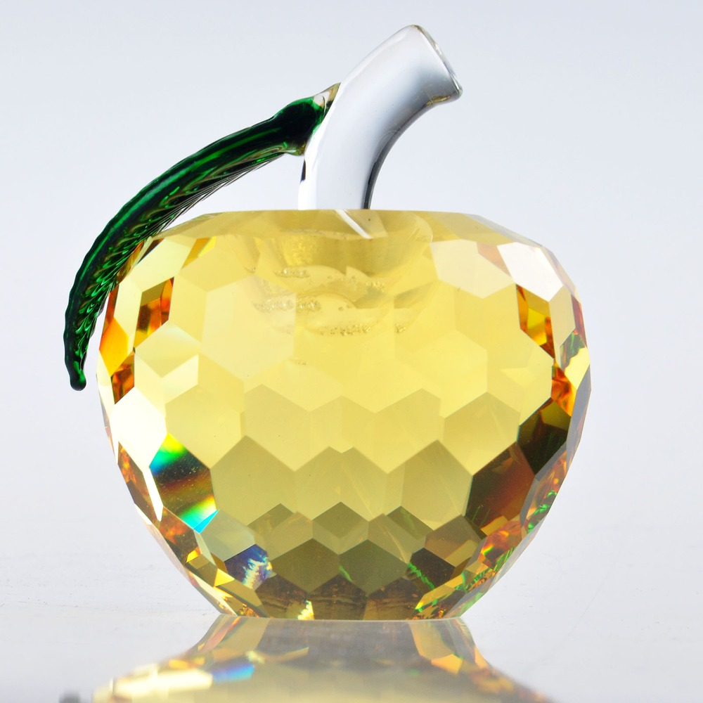 H&D 1.6 Yellow Cut Crystal Apple Glass Paperweight Fruit Crafts Gifts Art&Collection Souvenir Office Car Ornaments Xmas Gifts