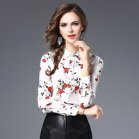 100% silk print women blouse shirts