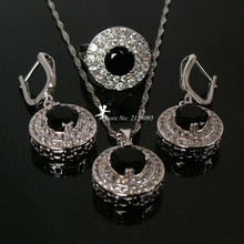 Silver Bridal Jewellery Statement Ruby Rhinestone Necklace Pendant Sets Earrings Black Accesorios Novias Sapphire Jewelry Ys002