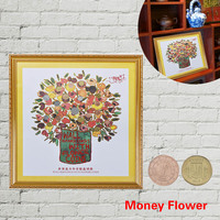 WR Home Decor Picture on the Wall Modern Money Tree Flower Coin W/ Photo Frame Wall Art Living Room Decorative Pictures