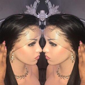 Image 4 - 스트레이트 360 레이스 정면 가발 인간의 머리카락 레이스 프론트 가발 베이비 헤어 페루 레미 인간의 머리카락 Pre 뽑은 표백 매듭 150%
