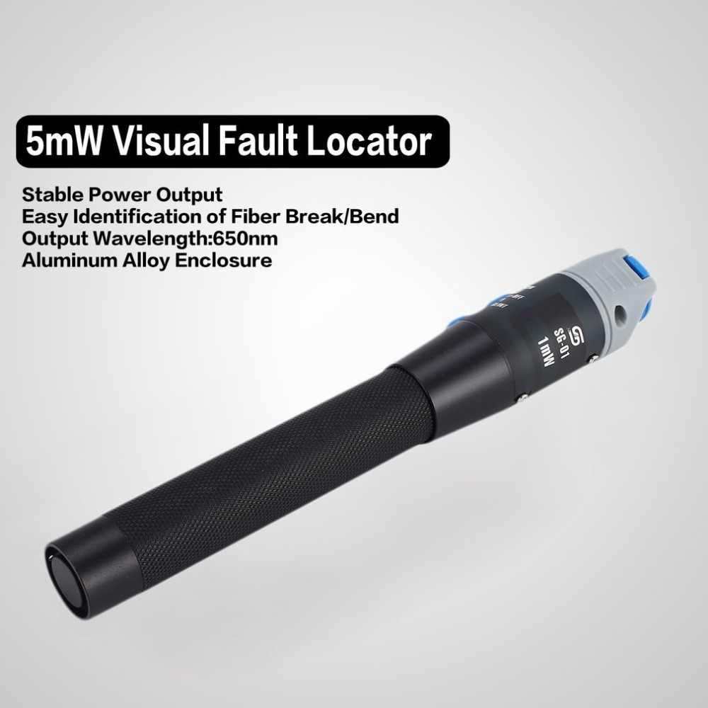 5kMW Visual Fault Locator Fiber Optic Cable Tester Red Laser Light Source Pen Type Visual Fault Locator Checker