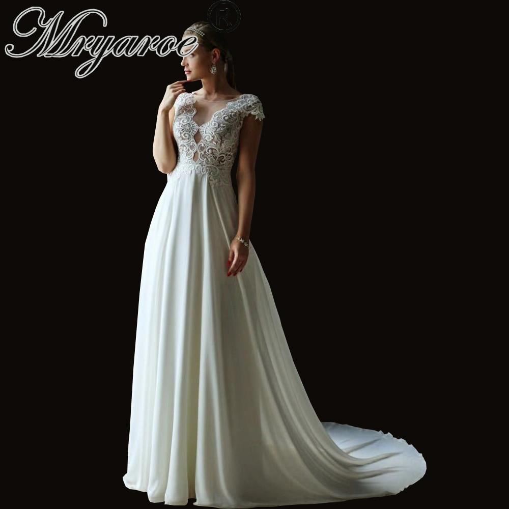 Mryarce Exclusive Luxury Lace Wedding Dress Chiffon A Line Wedding Dress Beach Bridal Gowns