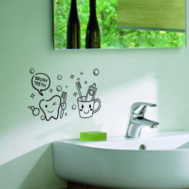 Bathroom Wall Sticker Brush Teeth Pattern PVC Removable Vinyl Decal Waterproof  Wall Sticker Bathroom Home Room
