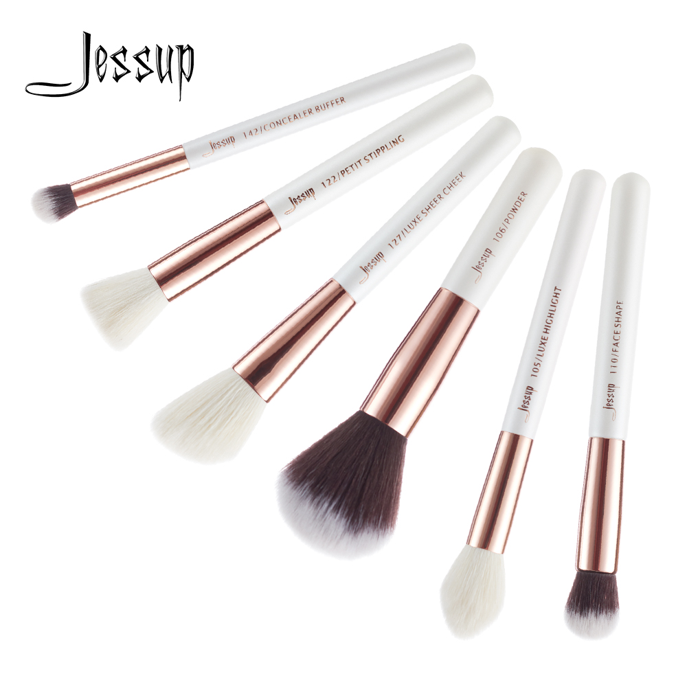 Jessup Brushes 6pcs Pearl White/Rose Gold Professional Makeup Brushes Powder Concealer Cheek Highlighter Make up Brush set T224 msq 10pcs rose gold balck professional makeup brushes set powder foundation concealer cheek shader make up tools kit
