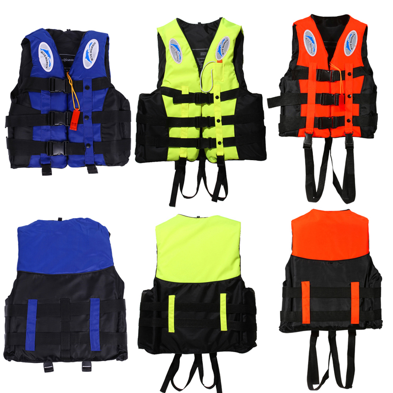Polyester Life Jacket för Vuxna Barn Universal Outdoor Swimming Boating Ski Drifting Vest Survival Suit med visselpipa S-XXXL