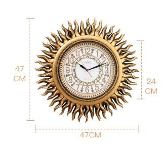 47*47cm relógio de parede sala estar moderna moda mudo pendurado relógio europeu retro decorativo manual sun forma parede digital relógio