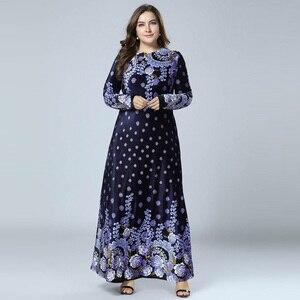 Image 5 - New Winter Velvet Maxi Long Dresses Elegant Gold Stamping Floral Printing Muslim Dress BLUE PINK GREEN M   4XL