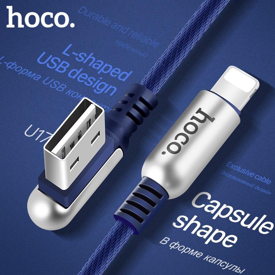 HOCO 2.4A Zink-legierung 90 Grad Usb-kabel für Apple blitz iPhone iPad OTG Schnellladung Original-ladegerät Datenkabel Sync