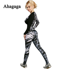 Ahagaga 2017 Summer Autumn Women Tracksuits Sets Fashion Camouflage fitness Women Suit Costume ( Tops + Leggings) Women Suit Set