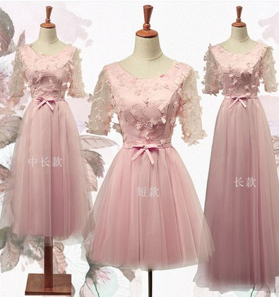 New party dress 2016 summer bridesmaid dresses short sleeves and sisters in the skirt of the dress female long money textiles and dress of gujarat