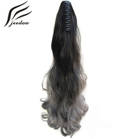 Jeedou Wavy Synthetic High Temperature Ponytails 22 55cm 170g GreenPink Gray Omber Color Claw Ponytail Hair