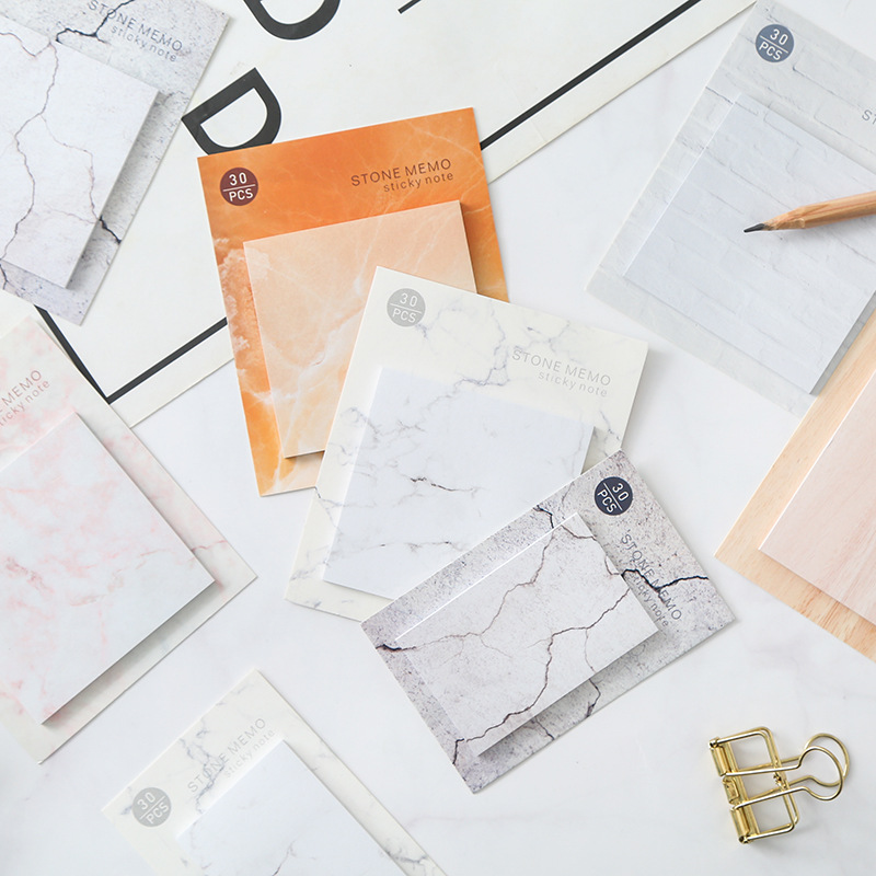 Creative Korean Sstationery Kawaii Marble Pattern Memo Pad Sticky Paper Cute Stonecolor Writing Pads Office School Supplies