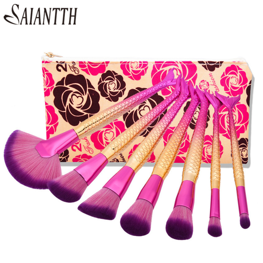 SAIANTTH Mermaid fish tail open screen makeup brushes set 7pcs kit fan shape foundation eyeshadow blush lip powder brush beauty 1000g 98% fish collagen powder high purity for functional food