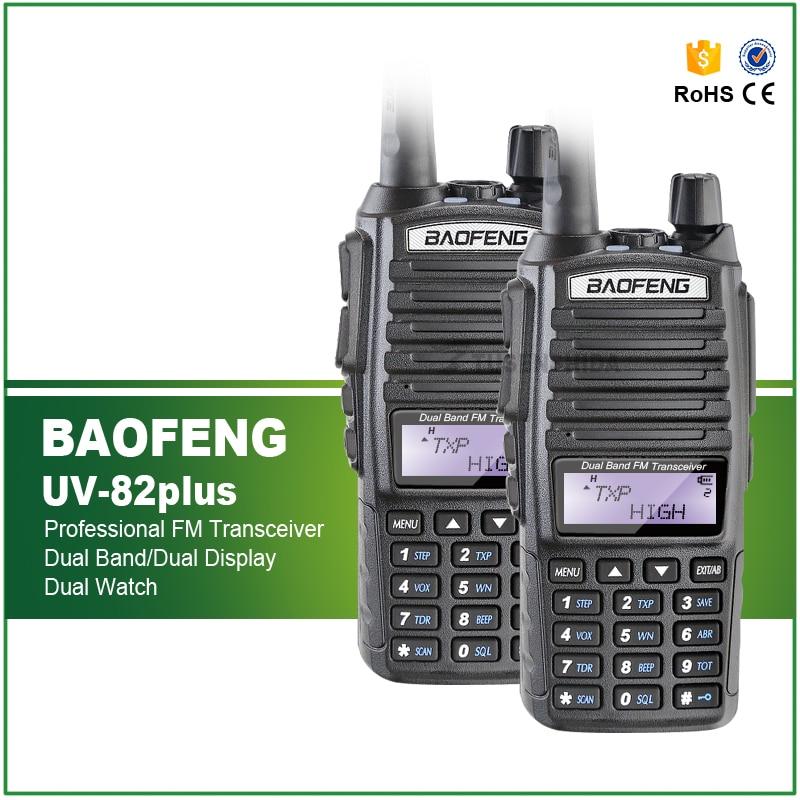 2PCS BAOFENG UV-82plus Radio Dual Band UHF / VHF 136-174 / 400-520MHz Walkie Talkie Radio Dua Hala dengan Double PTT Heaset