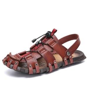 Image 2 - JUNJARM 2020 nouveaux hommes sandales dété tongs pantoufles hommes en plein air plage chaussures décontractées pas cher mâle sandales Sandalia Masculina 47