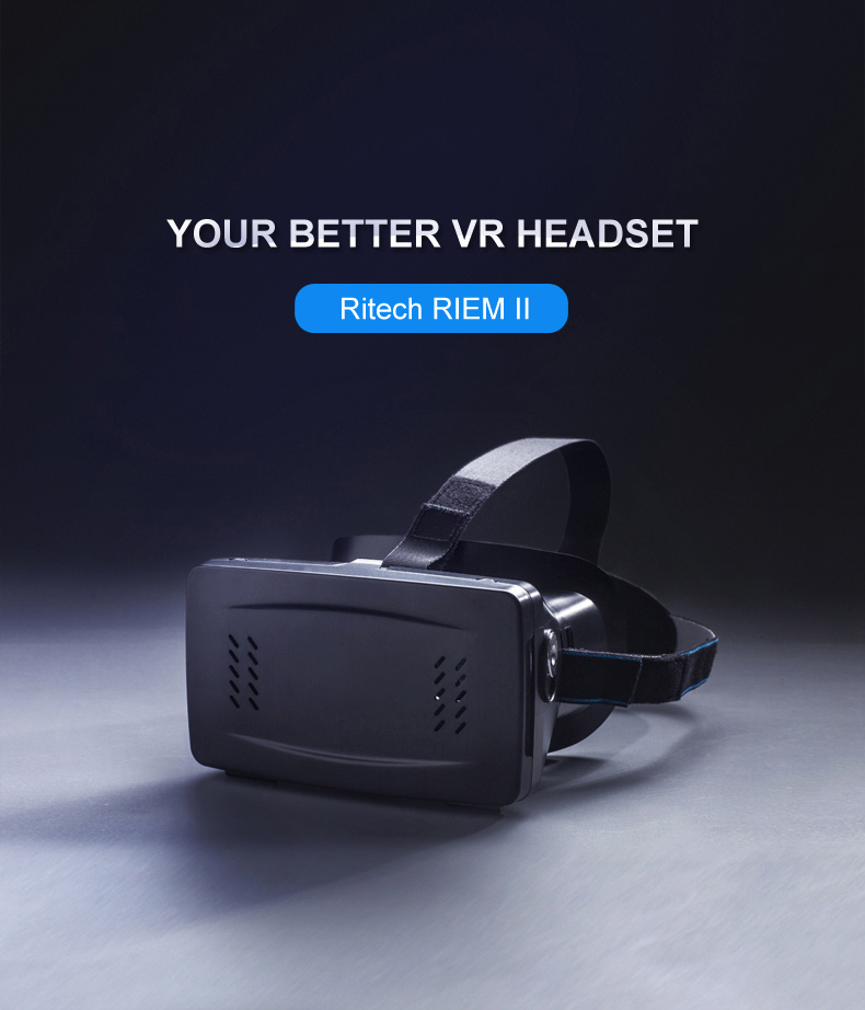 F17697 RITECH RIEM II Head Mount 3D VR Virtual Reality Glasses 2 with Cardboard Band Moive Game Personal Cinema for Smartphone