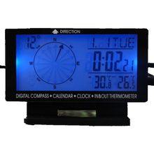 5 в 1 Цифровой автомобильный термометр с синей подсветкой, ЖК дисплей, метеостанция, компас, измеритель температуры, часы, календарь