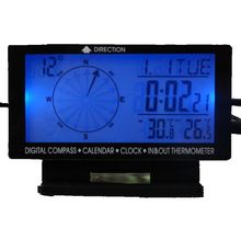 Digital Car Inside Outside Thermometer 5in1 Blue Backlit LCD Vehicle Weather Station Compass Temperature Meter Clock