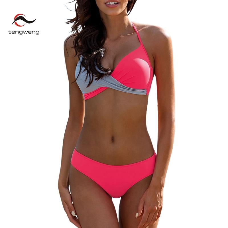 a7f8d8e62adf1 2019 sexy Push up Bikinis Halter Women Sports Plus size Swimwear Patchwork  Pink Bandage Swimsuit Female Brazilian Bathing suit-in Bikinis Set from  Sports ...