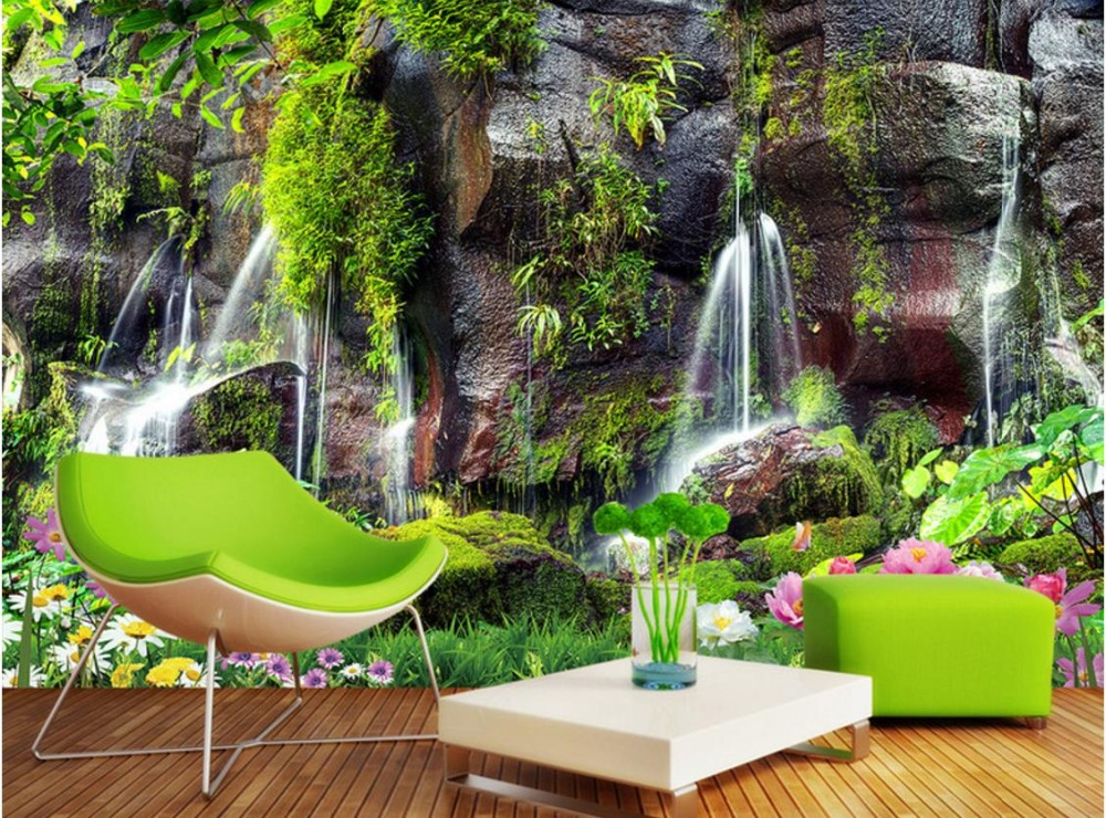 benutzerdefinierte garten ansicht moderne tapeten wasserfall landschaft 3d natur tapeten. Black Bedroom Furniture Sets. Home Design Ideas