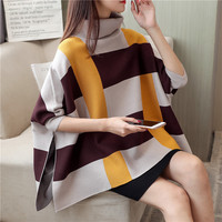 Pullover Batwing Sleeve Turtleneck Cloak Wrap Swing Female Jumper Shrug Women Knitted Sweaters and Pullovers Casual Plaid Swing