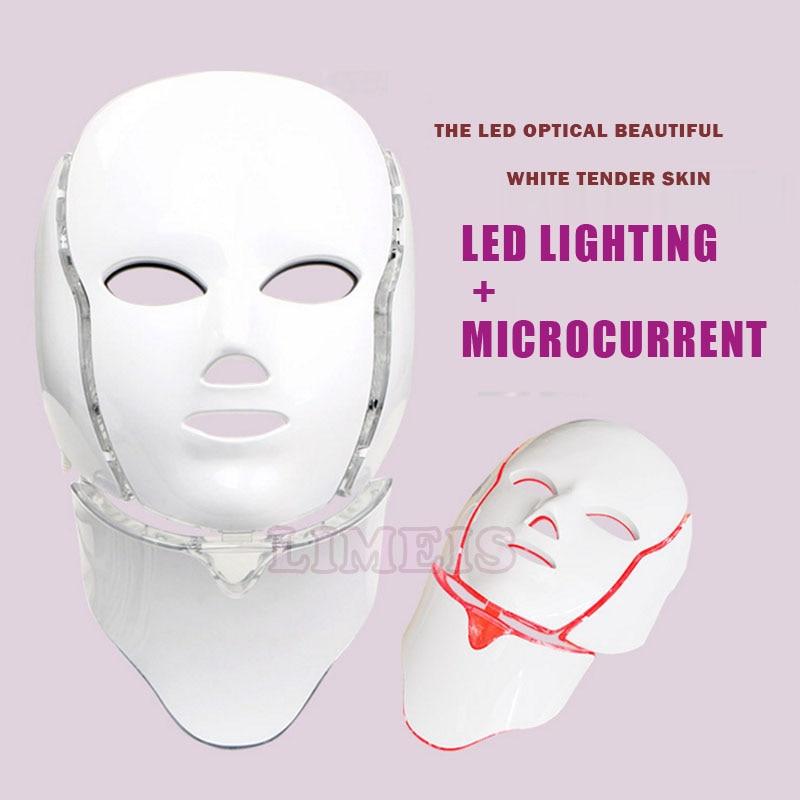 7 color photon LED facial neck mask microcurrent skin massager rejuvenation machine wrinkle removal led light