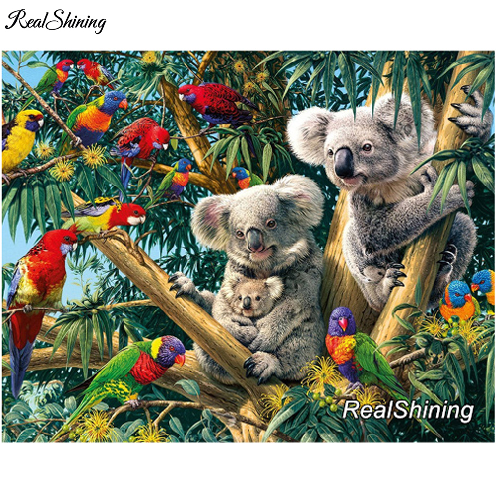 REALSHINING Needlework 3D Diy Diamond Embroidery Parrot And Squirrel Full Square Diamond Painting Mosaic Cross Stitch DM229