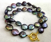 Women Classic Jewelry 10 12mm Black Green Purple Mixed Round Slice Pearl Necklace Real Natural Freshwater