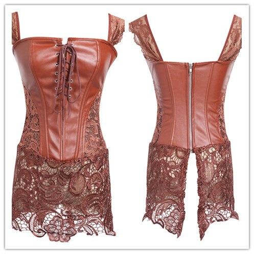 Women Faux Leather Lace Steampunk Corset Dress Gothic Bustier Corset Sexy Corsets Bustiers S-6XL Plus Size Sexy Lingerie