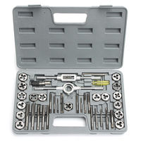 Hot HD Pro 40pcs/set Tap Die Metric Tapping Threading Chasing Case Adjustable Holder Thread Gauge Wrench Tools Kit