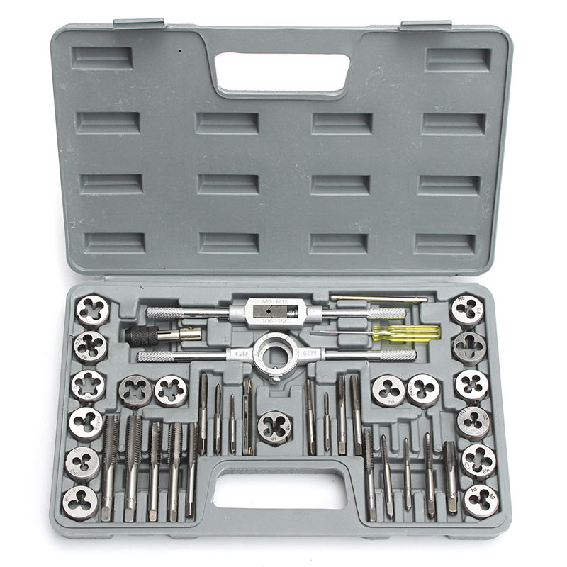Hot HD Pro 40pcs/set Tap Die Metric Tapping Threading Chasing Case Adjustable Holder Thread Gauge Wrench Tools Kit 40pcs tap