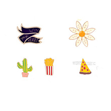 2017 Metal alloy color drip brooch Pizza slice of cactus flower hat symbol badge usually brought women clothing apparel br