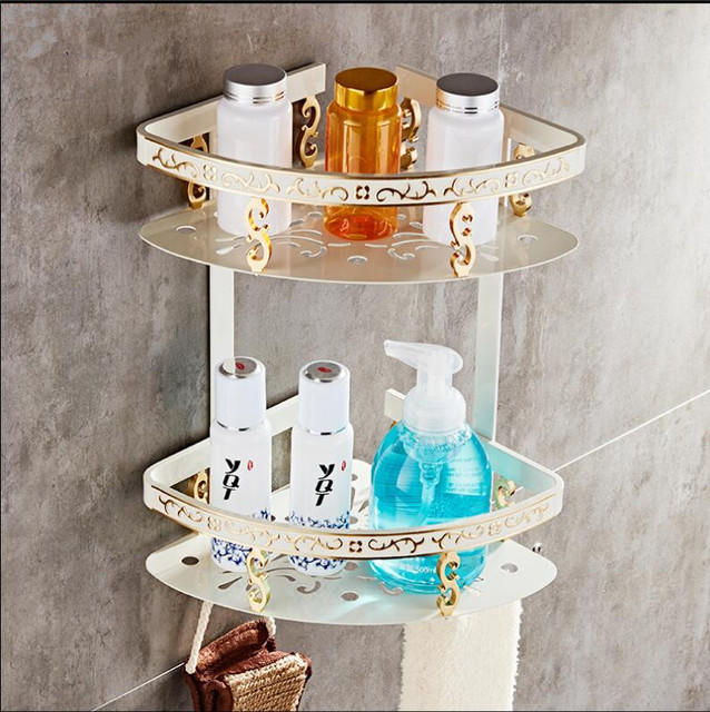 Wall Mounted Ivory and Gold Aluminum Bathroom Shelf Bath Shower ...