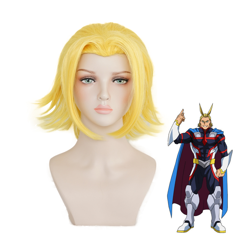 Boku no Hiro Academia All Might Golden Wig Cosplay Costume My Hero Academia Heat Resistant Hair Halloween Party Role Play Wigs