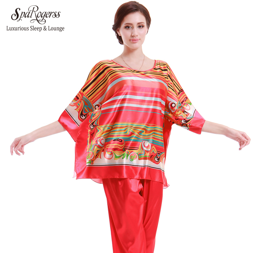 ... 7f556 SpaRogerss Hot 2017 Women Pajamas Satin Pyjamas Faux Silk Lady  Sleepwear With  info for 6f1da 3a1fa 3pcsSet Luxury Dressing Gown Print  Bathrobe ... 54f3d70b7