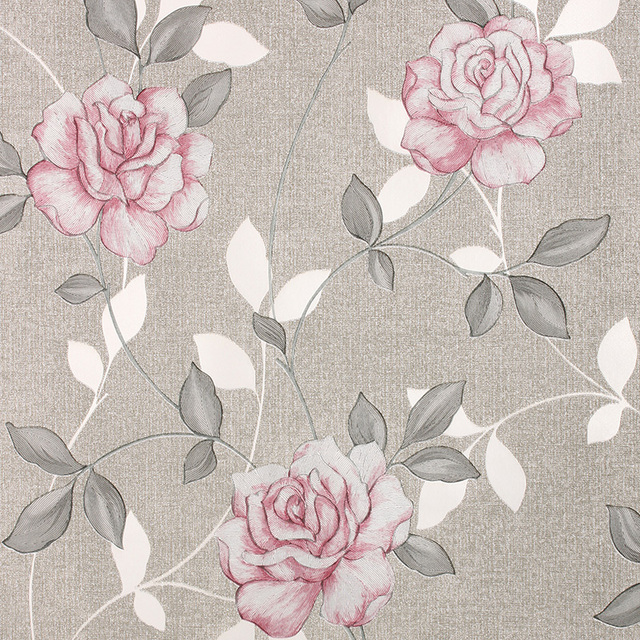 Luxury gold 3D Rose wallpaper Romantic floral background wallpaper For Bedroom and living room Rose mural wall paper gray brown