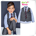 2016 children's clothing Sets gentleman Boy's suit set 4pieces set Kids long sleeve dress shirt +trousers +vest+ tie m5452