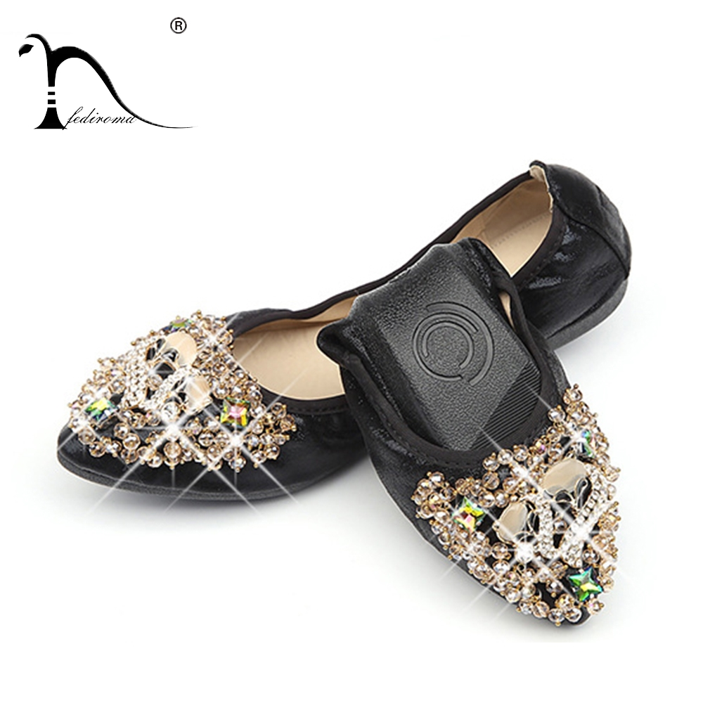 FEDIROMA Mother's Flat Shoes Woman Casual Rhinestone Flat shoes Pointed Toe Flats Black Gold shoes Plus size 33-43 pu pointed toe flats with eyelet strap