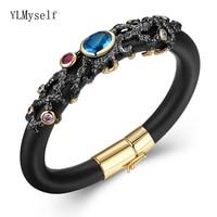 2019 Fashion Bangle Black Bracelets & Bangles Multi Color Cubic Zirconia Pulseiras Pulseira Feminina Luxury Jewelry For Women
